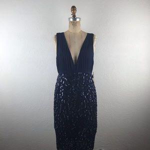 Alice + Olivia l Navy Plunge Sequins Wiggle Dress